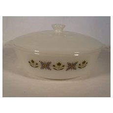 Fire King 2qt Meadow Green casserole dish with lid by Anchor Hocking