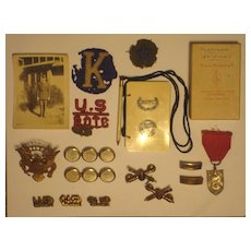 Fantastic 1930's ROTC Collection Kansas State - Pre WWII Pins, Ranks, Medal, Dance Card
