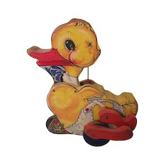 1939 Fisher Price Gabby Duck Pull Toy 190