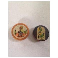Vintage Disney Panchito & Joe Carioca Bakelite Pencil Sharpeners