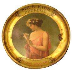 Antique Soul Kiss Perfume Advertising TIn Tip Tray