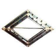 Beautiful Vintage Diamond Shaped Brooch with Sapphire Rhinestone Baguettes