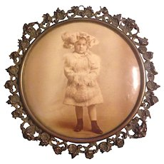 Great Celluloid Button Photograph Little Girl in Victorian Dress With Original Tin Frame Columbia Photographic Co., Chicago