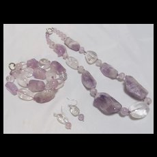 Amethyst Necklace Bracelet and Earrings