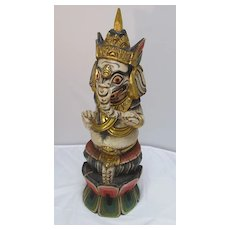 Wood Ganesh with Poly Chrome Decoration