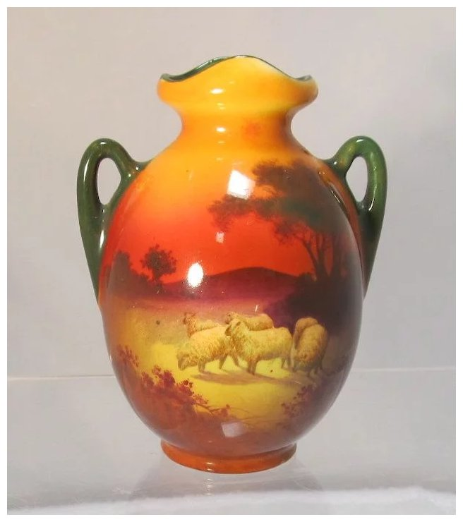 Antique Royal Doulton Miniature Series Ware Vase With Sheep The
