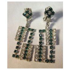 Rhinestone Green & White Dangle Earrings