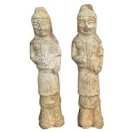 Pair Chinese Tang Pottery Soldiers