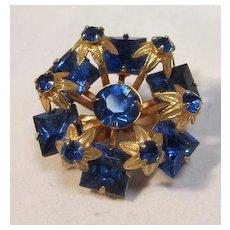 Cobalt Gilt Brooch