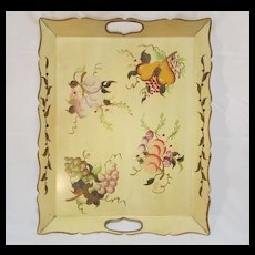 Old Metal Tole Tray Hand Painted Fruit & Grapes