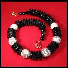 Agate Bone Scrimshaw  Necklace