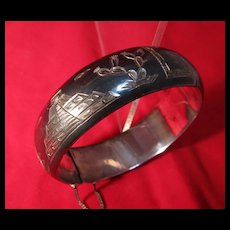 Old Mexican Sterling Silver  Engraved Bangle Bracelet