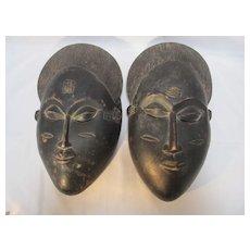 Pair African Baule Wood Masks
