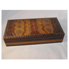 Carved Wood Brass Inlaid Stamp box