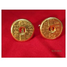 Chinese Gold Cuff Links
