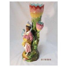 English Majolica Figural Vase