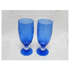 Two Cobalt Blue Cut Crystal Wine/Water Glasses