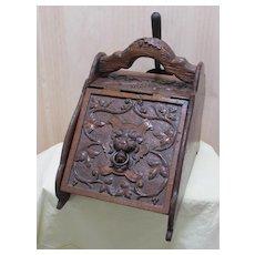 Antique Fireplace English Oak Coal Scuttle Hod