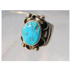 Mans Native American Style Turquoise Ring