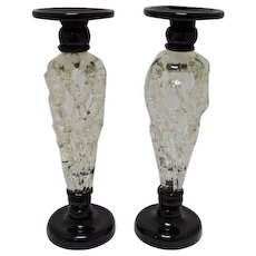 Tall Lattice Glass Candlesticks