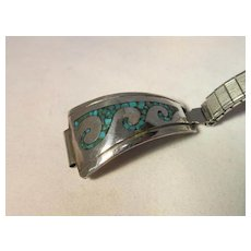 Vintage Native American Turquoise Sterling Watch Band Signed