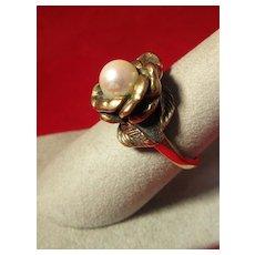 Elegant 14 K Gold Solitaire Pearl Ring