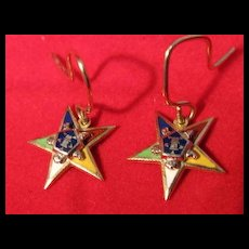 Pair 10K Gold Eastern Star Earrings