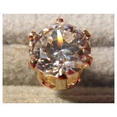 14 K Gold Cubic Zirconia Singe Post Earring
