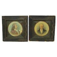 Antique Pair Miniature Framed Portraits Goeth and Schiller
