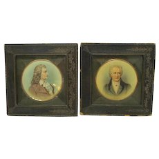 Antique Pair Miniature Framed Portraits Goeth and Schiller