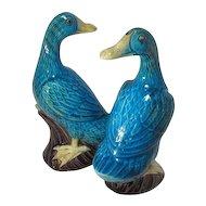 Chinese Turquoise Porcelain Ducks