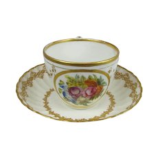 Antique Royal Crown Derby Botanical  Cup and Saucer