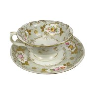 Antique Royal Crown Derby Botanical Cup & Saucer Circa