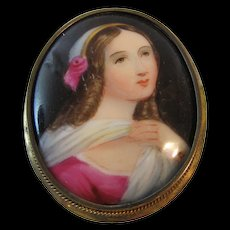 Antique Miniature Hand Painted  Pin