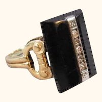 Art Deco 10K Gold Diamond and Onyx Ring Size 4  3/4