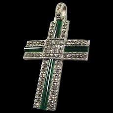 Marcasite Chrysoprase Sterling Cross