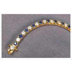 Faux Sapphire and Diamond Sterling Vermeil Bracelet