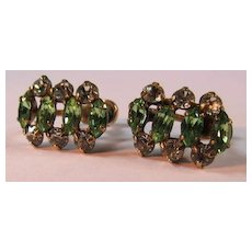Classic Faux Emerald & Diamond Earrings