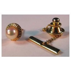 Pearl & 14K gold filled Tie Tac