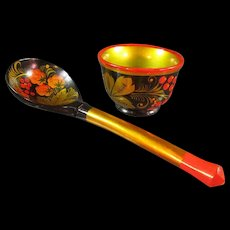 Russian Lacquer Spoon and Bowl