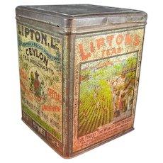 Large Old Lipton Tea Tin