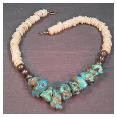 Old Turquoise and Shell Necklace