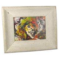 Abstract Oil on Masonite Portrait