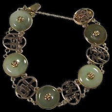 Chinese 14K Gold And Jadeite Bracelet