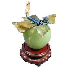 Hard-stone Apple Paperweight on Stand