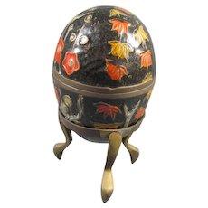 Enameled Brass Egg on Stand