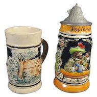 Pair Miniature German Stein/Mug