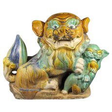 Antique Chinese Foo Lion/Dog and Cub