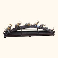 Seven Chinese Cloisonne Elephants on a bridge  32 Inches Long