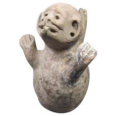 "Old Pre-Columbian  Monkey Pottery Vessel 4"" tall"